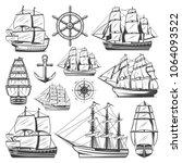 vintage big ships collection... | Shutterstock .eps vector #1064093522