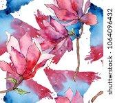 pink magnolia. floral botanical ... | Shutterstock . vector #1064096432