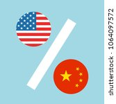 usa and china as percentages....   Shutterstock .eps vector #1064097572