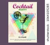 cocktail margarita on artistic... | Shutterstock .eps vector #1064105285