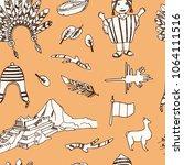 peru hand drawn doodle seamless ... | Shutterstock .eps vector #1064111516