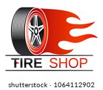 tires shop   tire with flame | Shutterstock .eps vector #1064112902