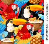 macaw  toucan and tropical... | Shutterstock .eps vector #1064118038