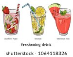 Set of three soft drinks. Lemonade, strawberry Mojito and watermelon fresh. Colorful vector illustration in sketch style.