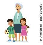 grandmother with children....   Shutterstock .eps vector #1064124068