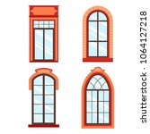 detailed wooden window frames... | Shutterstock .eps vector #1064127218