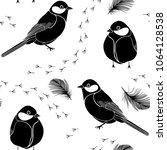 seamless pattern with birds ... | Shutterstock .eps vector #1064128538