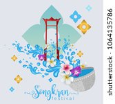 songkran festival  thailand... | Shutterstock .eps vector #1064135786