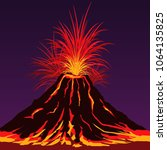 volcano mountain with burning... | Shutterstock .eps vector #1064135825