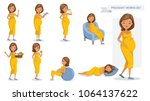 pregnant women set. many views... | Shutterstock .eps vector #1064137622