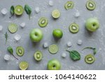 fresh green fruits with spinach ... | Shutterstock . vector #1064140622