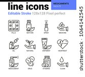medicaments line icons set  ... | Shutterstock .eps vector #1064142545