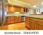 Stock photo luxury apartment wood kitchen interior 106414535