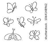 hand drawn butterfly. vector... | Shutterstock .eps vector #1064148962