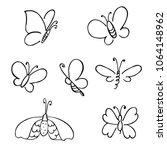 hand drawn butterfly. vector... | Shutterstock .eps vector #1064148962