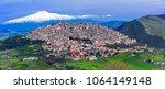 amazing village gangi with etna ... | Shutterstock . vector #1064149148