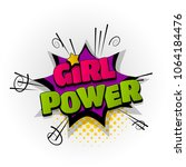 girl power woman hand drawn... | Shutterstock .eps vector #1064184476