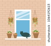 open window with cat and flower ... | Shutterstock .eps vector #1064192615