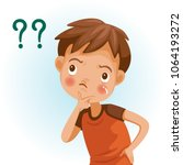 boy thinking with question... | Shutterstock .eps vector #1064193272