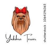 yorkshire terrier portrait. red ... | Shutterstock .eps vector #1064196365