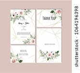 wedding set with invitations....   Shutterstock .eps vector #1064196398