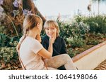 group of two funny kids playing ... | Shutterstock . vector #1064198066