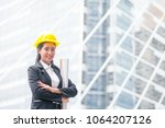 engineer woman hold blue print... | Shutterstock . vector #1064207126