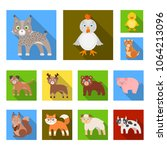toy animals flat icons in set... | Shutterstock .eps vector #1064213096