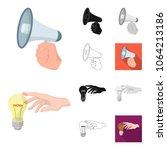 manipulation by hands cartoon... | Shutterstock .eps vector #1064213186