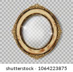 oval wooden frame of gold photo ... | Shutterstock .eps vector #1064223875
