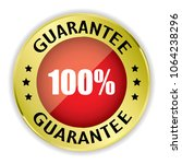 red 100  guarantee badge with... | Shutterstock .eps vector #1064238296