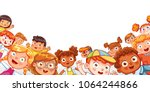 Group of Multicultural happy children waving at the camera. Children's panorama for your design. Place for text. Template for advertising brochure. Funny cartoon character. Vector illustration | Shutterstock vector #1064244866