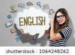 english text with young woman... | Shutterstock . vector #1064248262