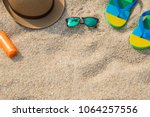 beach accessories with copy... | Shutterstock . vector #1064257556