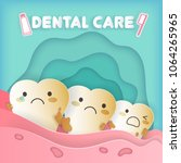 tooth with dental care concept... | Shutterstock . vector #1064265965