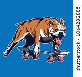 skateboarding bulldog vector... | Shutterstock .eps vector #1064282885