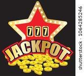 lucky sevens jackpot in golden... | Shutterstock .eps vector #1064285246