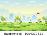 countryside golf course with... | Shutterstock .eps vector #1064317532