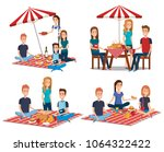 young people in picnic day scene | Shutterstock .eps vector #1064322422