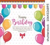 happy birthday balloons air... | Shutterstock .eps vector #1064326895