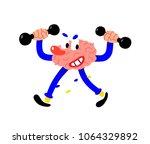 a cartoon painted brain shakes... | Shutterstock .eps vector #1064329892