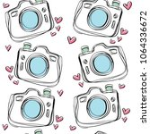 camera drawing with cute heart... | Shutterstock .eps vector #1064336672