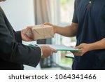 woman customer hand accepting...   Shutterstock . vector #1064341466