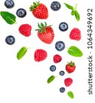 falling  various fresh berries... | Shutterstock . vector #1064349692