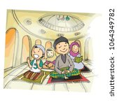 cute and funny family praying... | Shutterstock .eps vector #1064349782