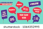 colorful photo booth props set... | Shutterstock .eps vector #1064352995