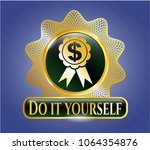 gold badge or emblem with... | Shutterstock .eps vector #1064354876