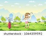 girl plays golf on a golf... | Shutterstock .eps vector #1064359592