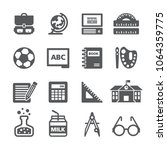 back to school icon set | Shutterstock .eps vector #1064359775