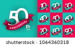 set of anniversary emblems  ... | Shutterstock .eps vector #1064360318
